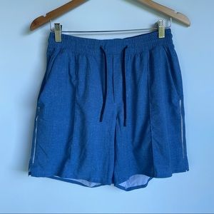 Lululemon Lined Shorts in Blue with Reflective Stripe
